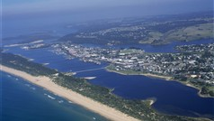 Aerial view of Lakes Entrance