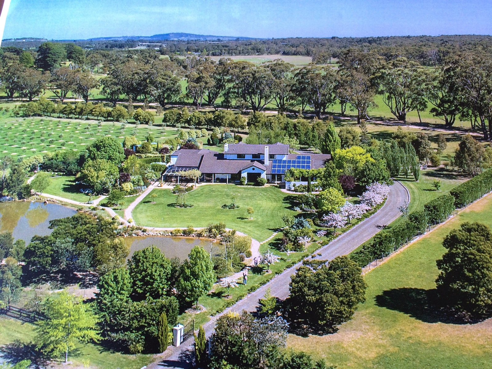 aerial view of home set in expansive garden with lake and lawns