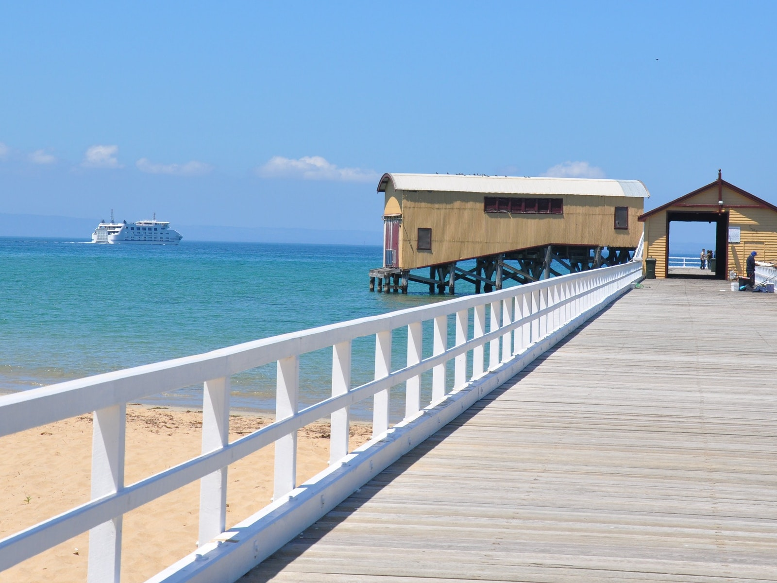 Queenscliff pier with ferry in background