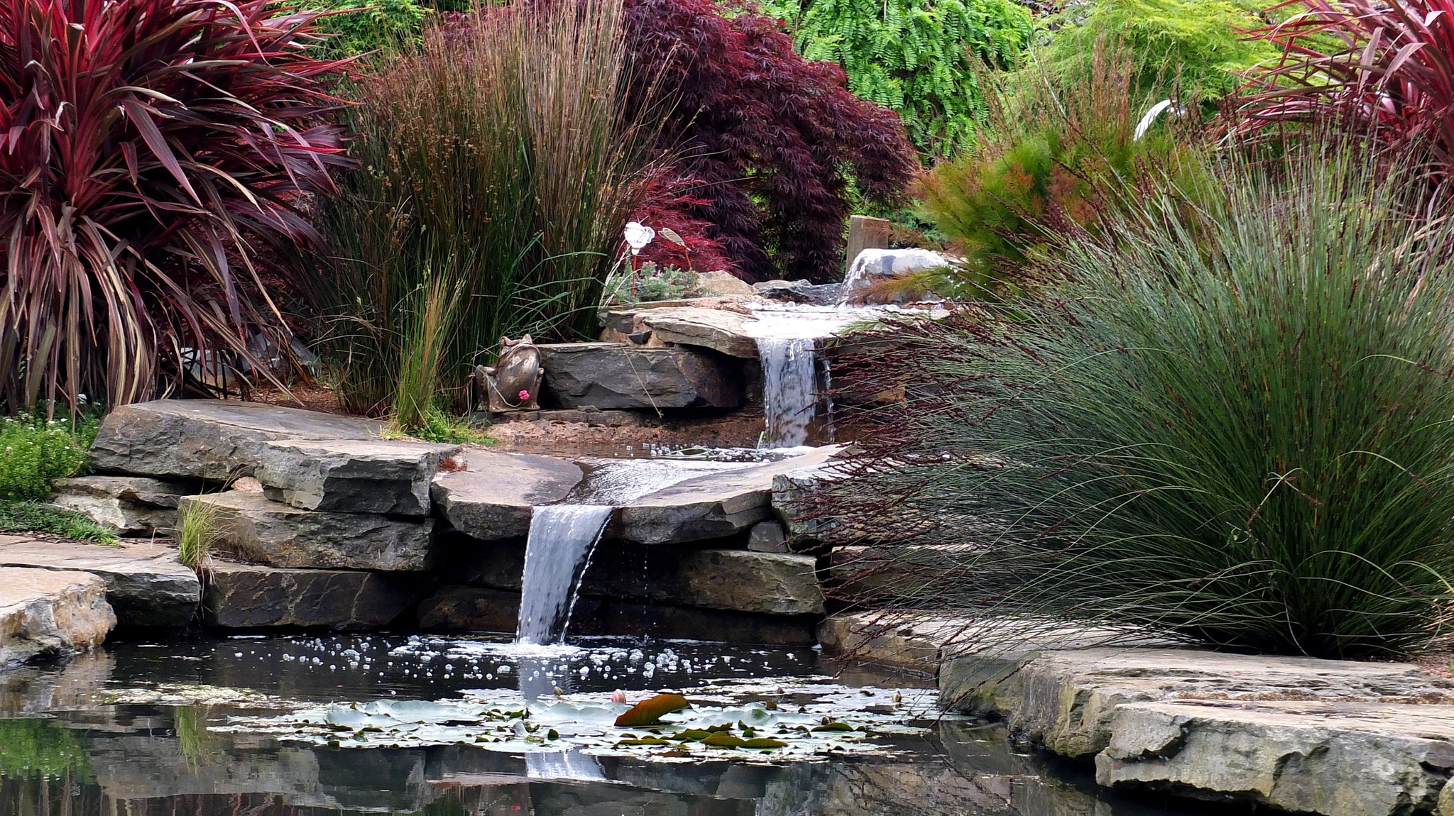 Garden scene with water feature