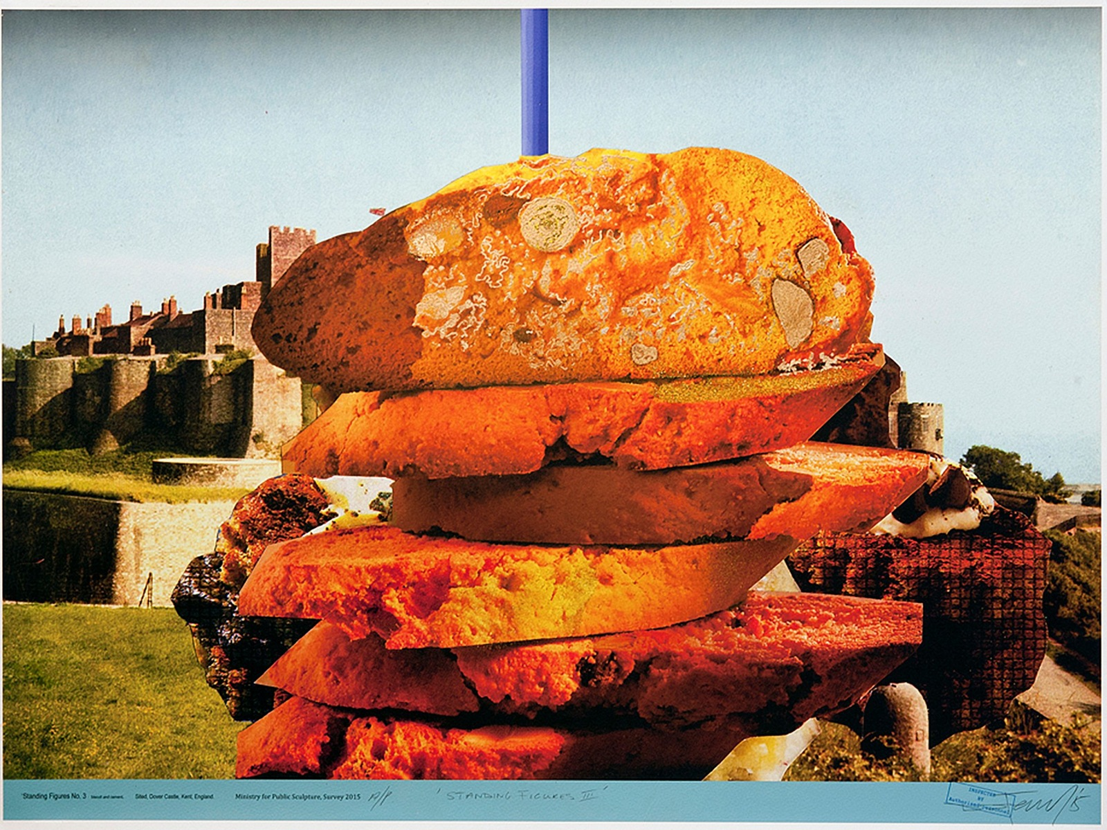 A pile of slices of bread is superimposed on a photograph of an English castle
