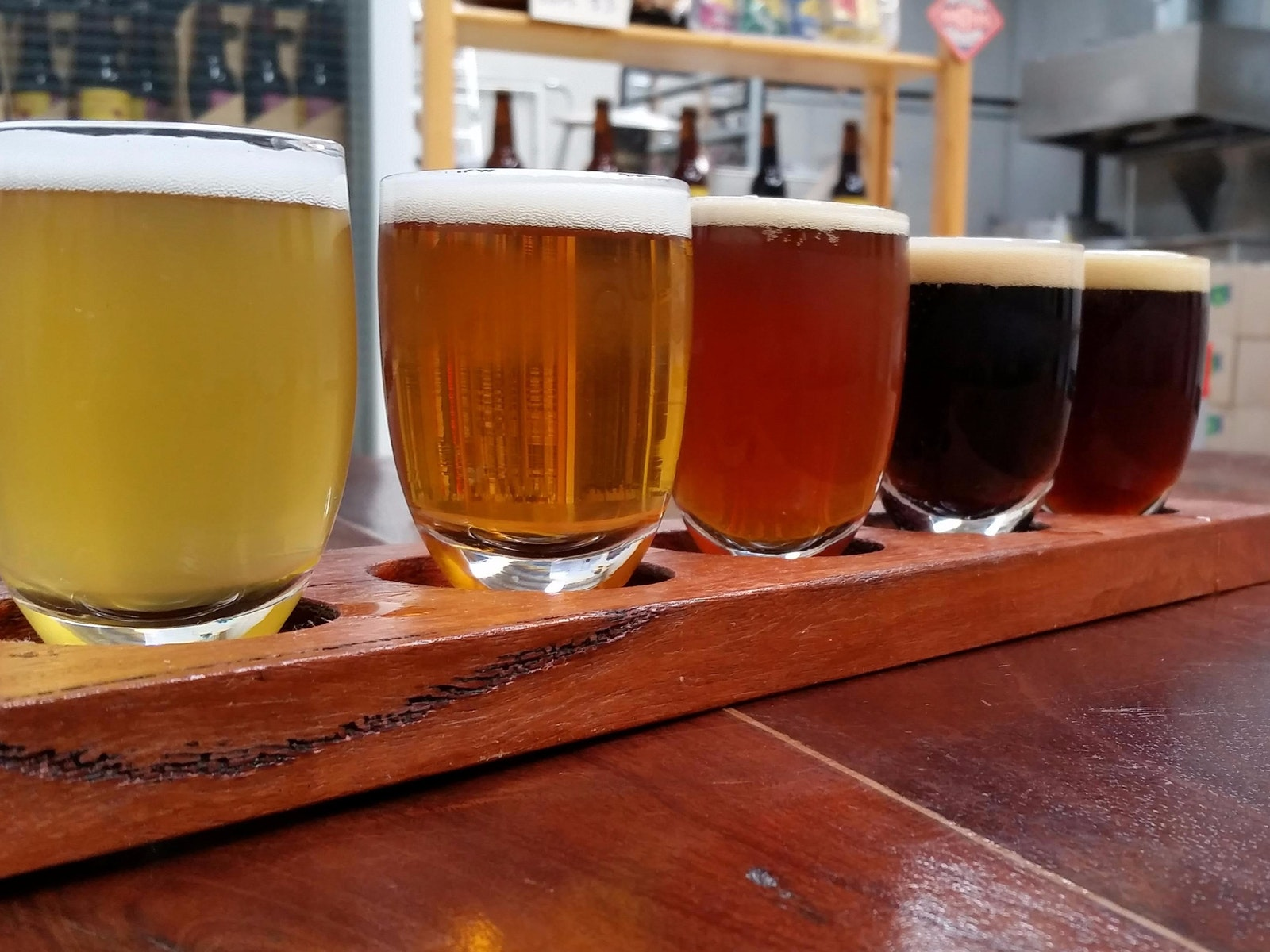 A five beer tasting paddle