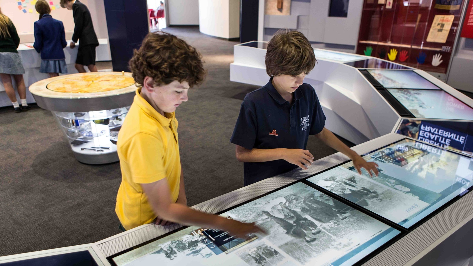 Kids love the interactive touch screens, packed with information and original documents
