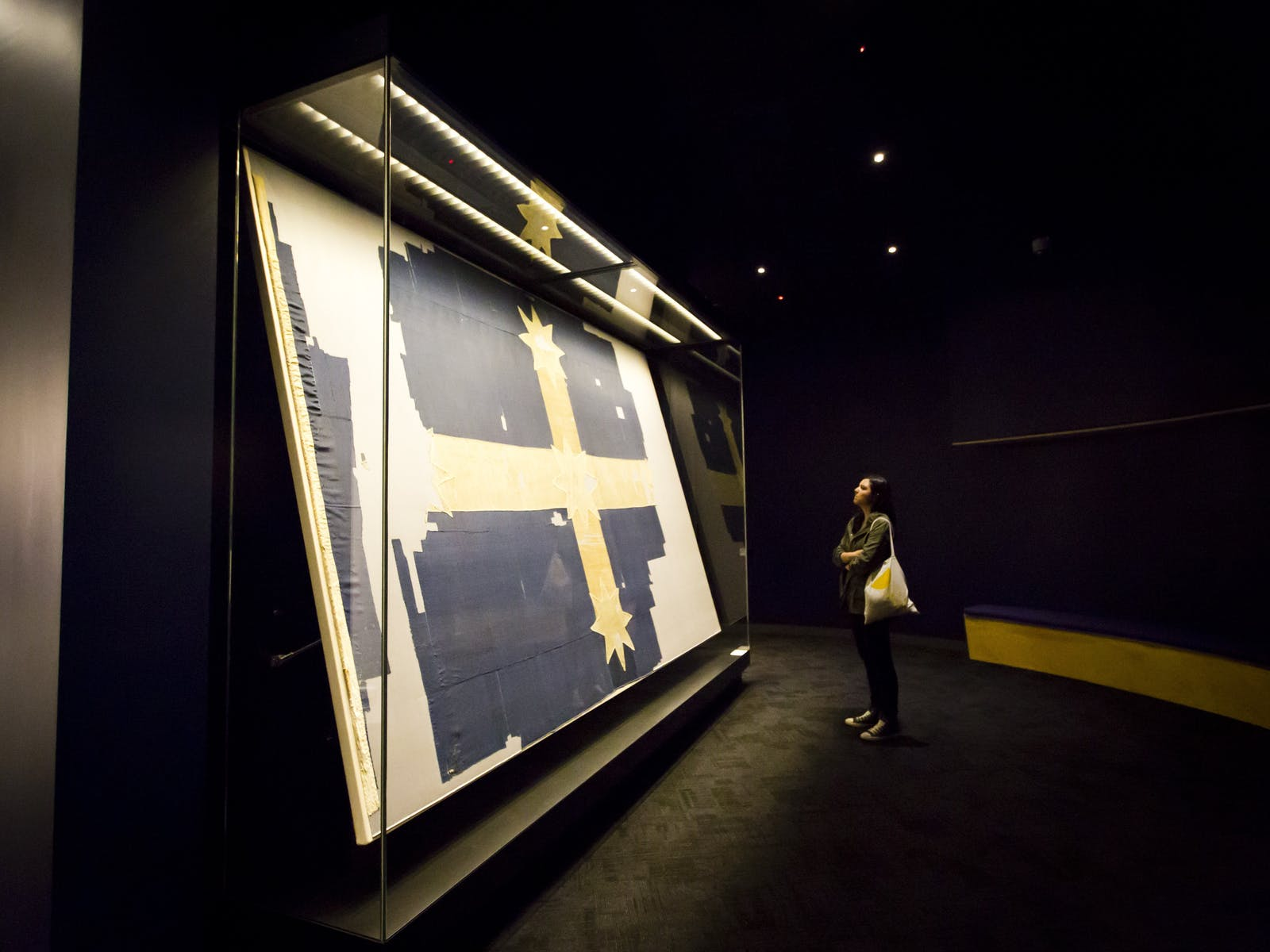 The original Flag of the Southern Cross (the Eureka Flag) from 1854, on display in a purpose built gallery