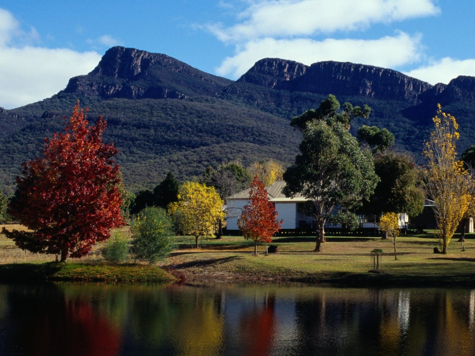 Autumn colours and the Grampians thrid highest mountain, Redman Bluff from Grampians Paradise