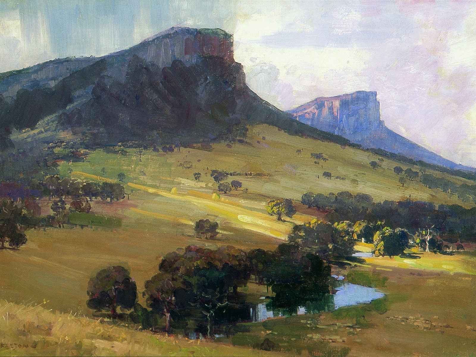 Arthur Streeton, Mt Sturgeon and Mt Abrupt 1921 oil on canvas, 51.8 x 76.5cm, private collection, courtesy Sotheby's Australia