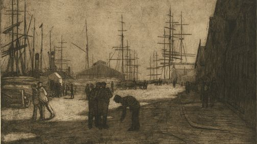 Jessie Traill,  'From overseas' 1913, etching and aquatint, National Gallery of Australia, Canberra Purchased 2007