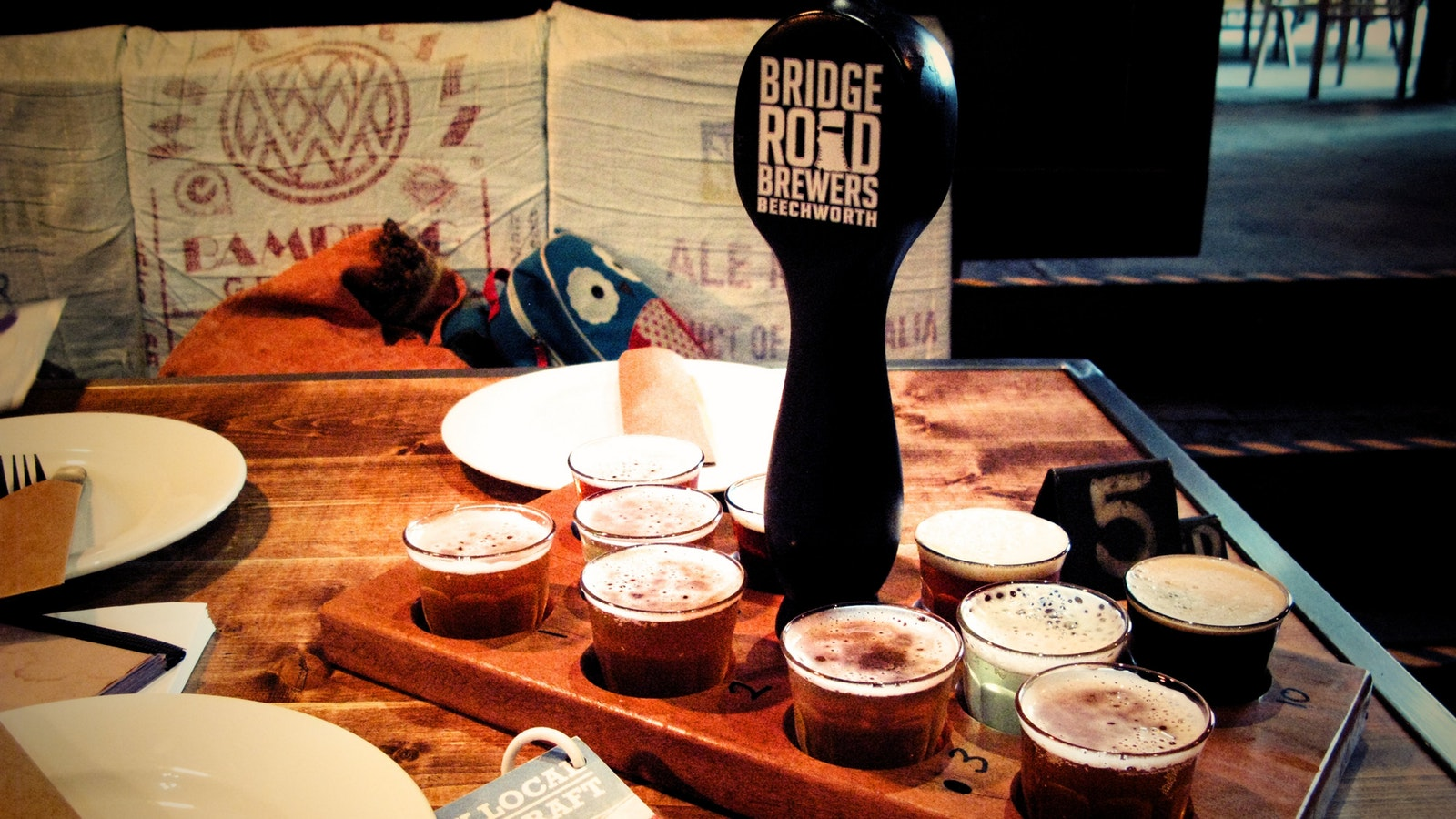 Beer tasting paddle at Bridge Road Brewers Beechworth