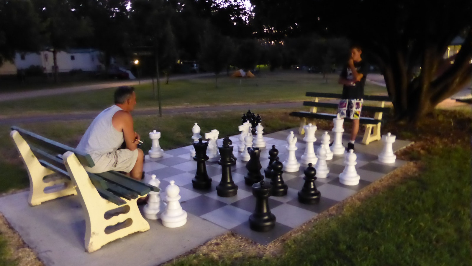 A game of outdoor chess