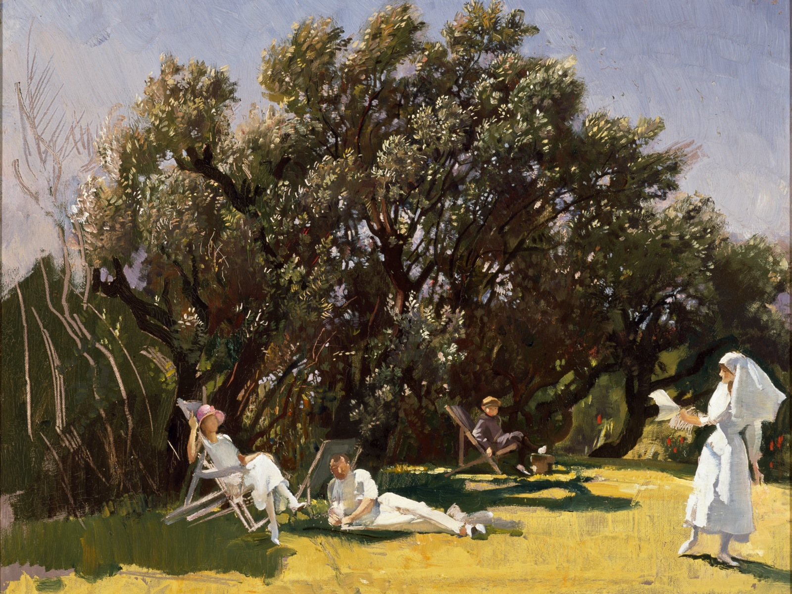 George Lambert, The garden at St Luke's Hospital 1922-23, oil on canvas