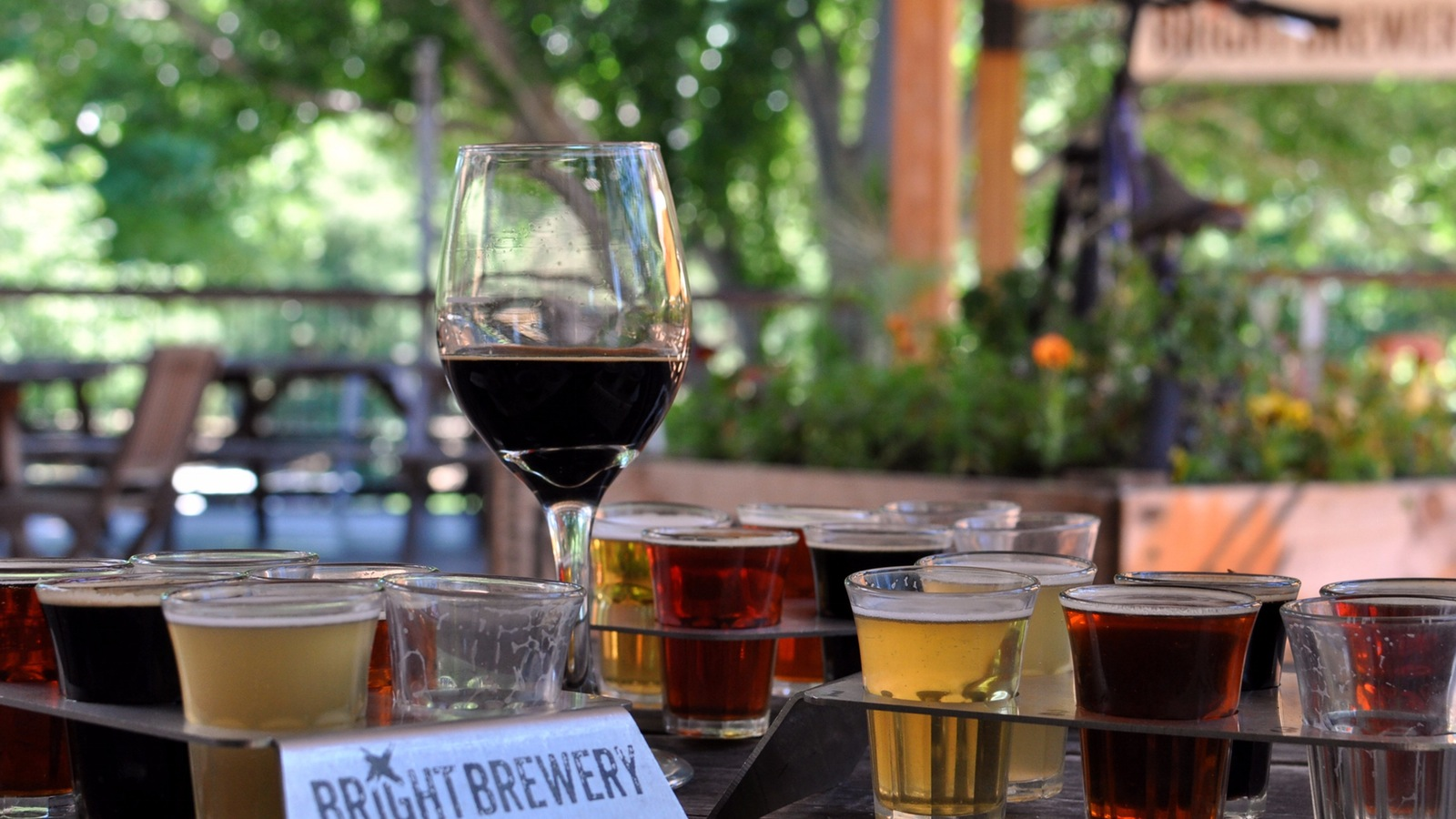 Tasting Trays and a glass of Stubborn Russian at Bright Brewery