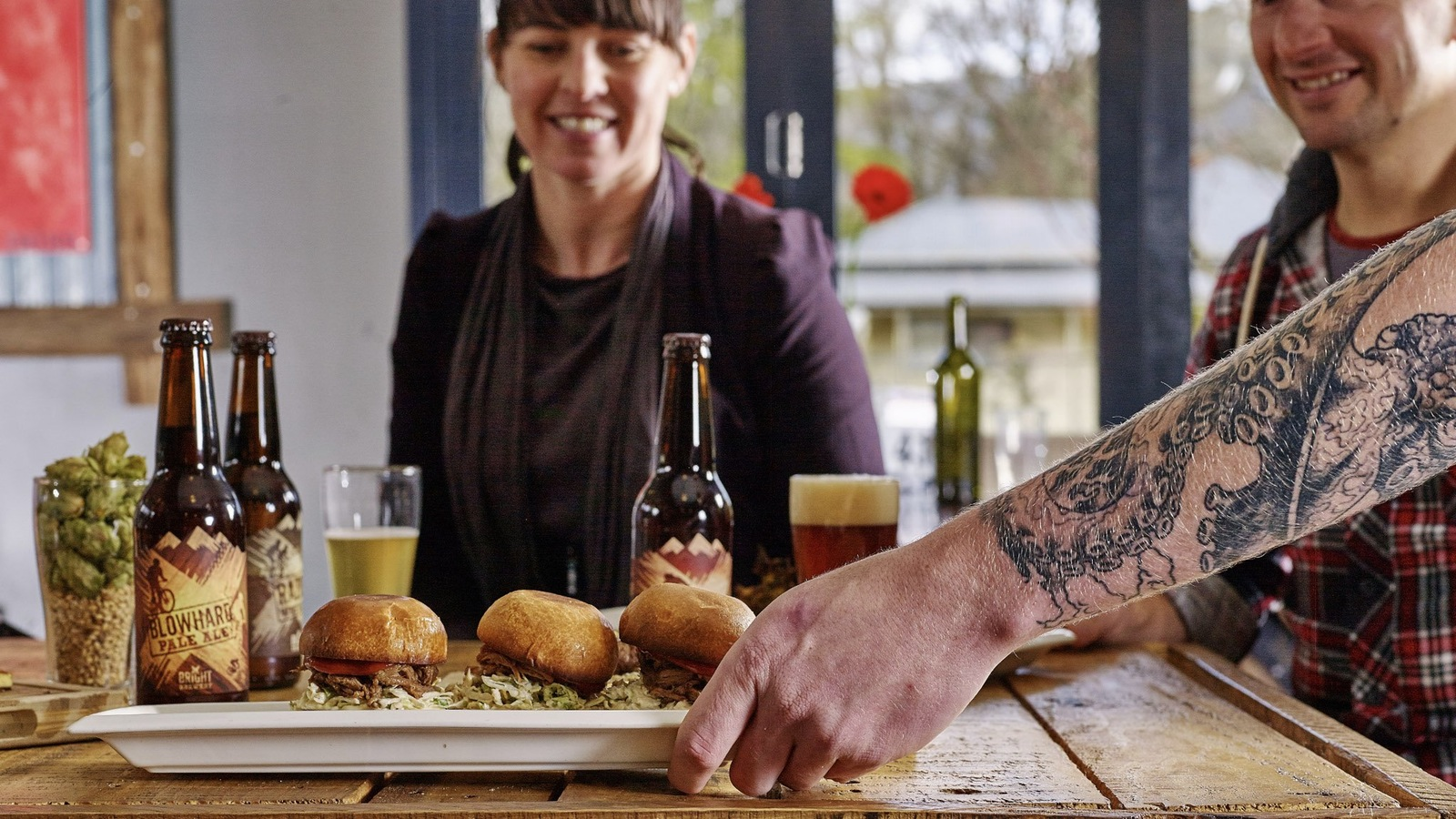 Sliders and beers for lunch at Bright Brewery
