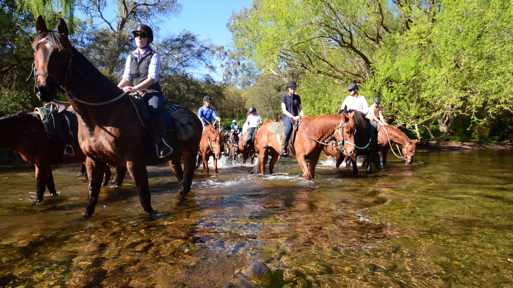 Crossing the river on the overnight horse ride