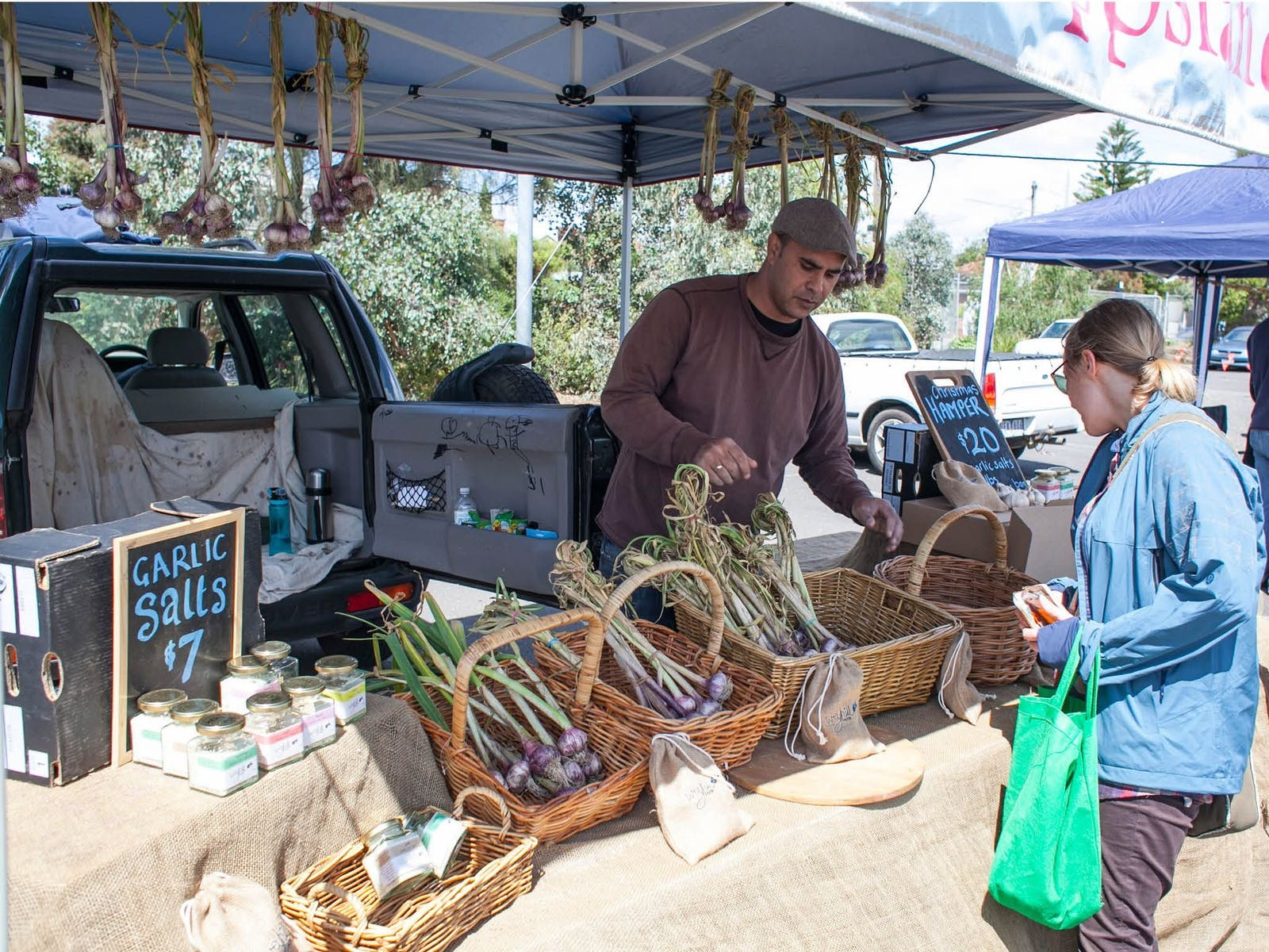 Local garlic at Coburg Farmers Markets