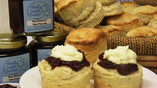 Fluffy wattleseed scones with home made jam