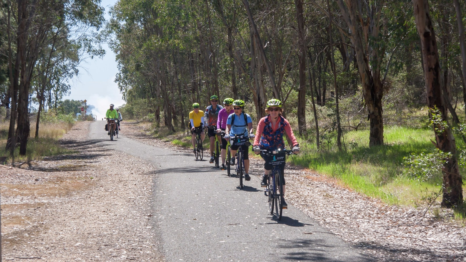 Group of cyclists on a sealed rail trail