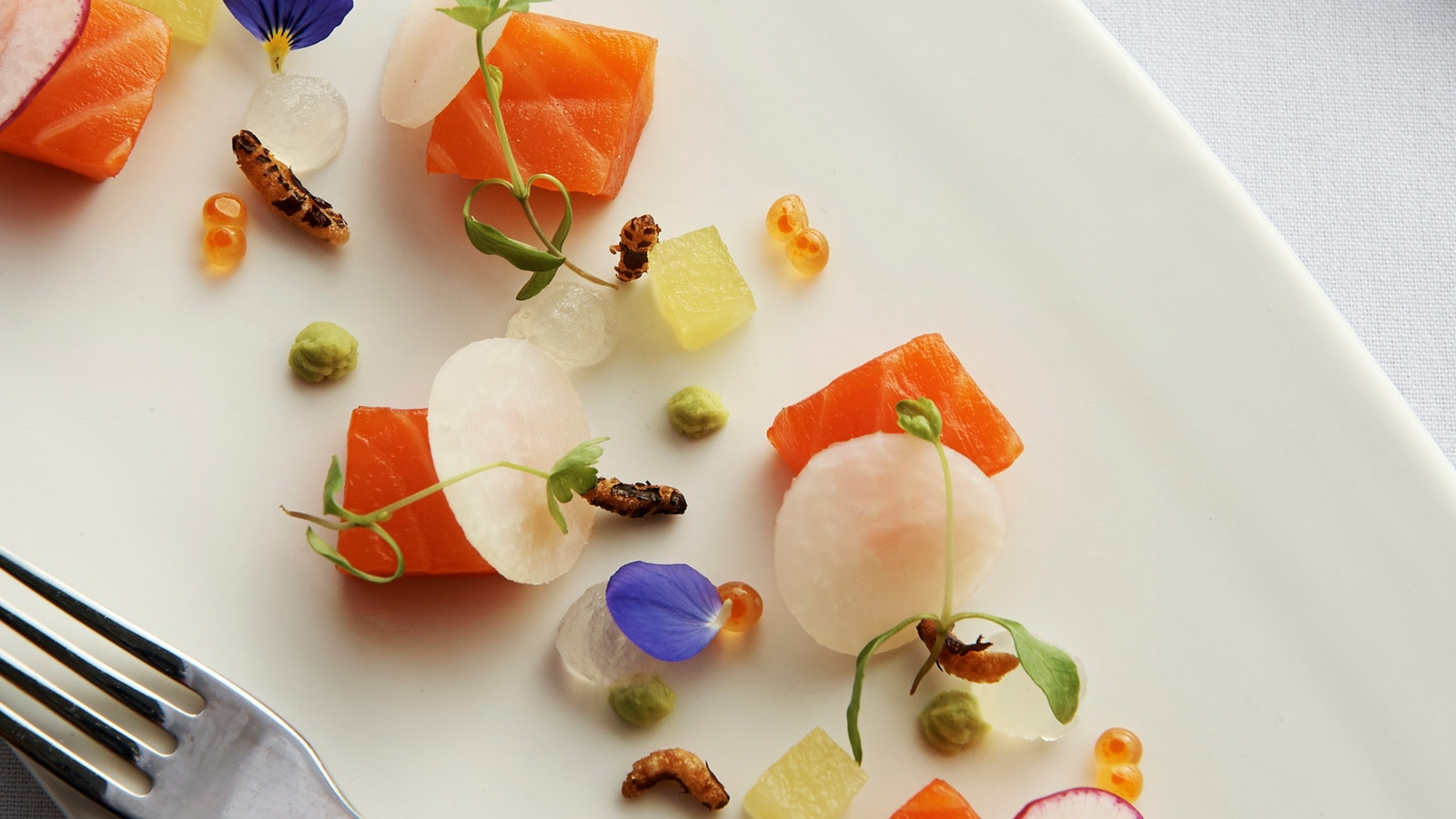 Cured salmon, salmon roe, radish, puffed rice
