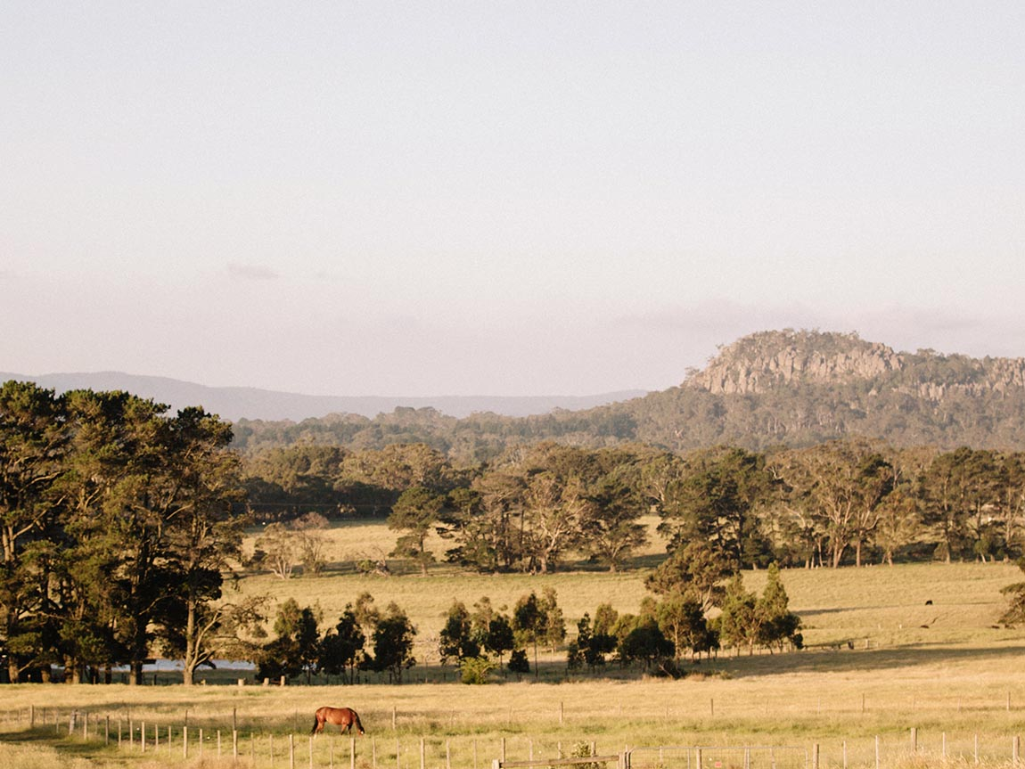 View of Hanging Rock from Newham, Daylesford and the Macedon Ranges, Victoria, Australia