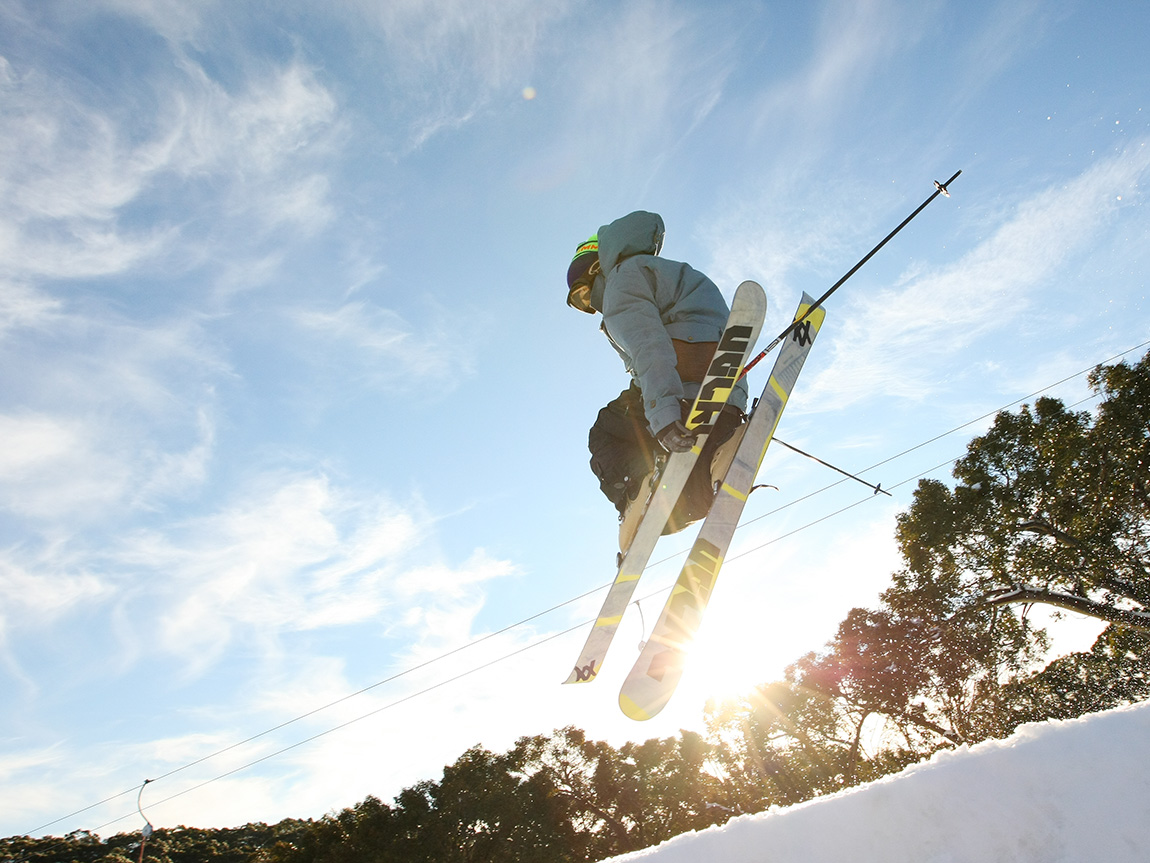 Skiing at Mt Baw Baw, Gippsland, Victoria, Australia