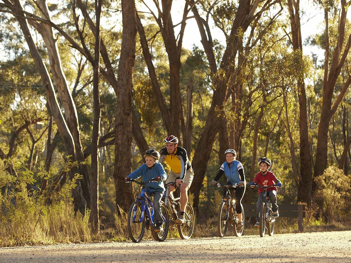 Cycling on Specimen Gully Road, Castlemaine, Goldfields, Victoria, Australia