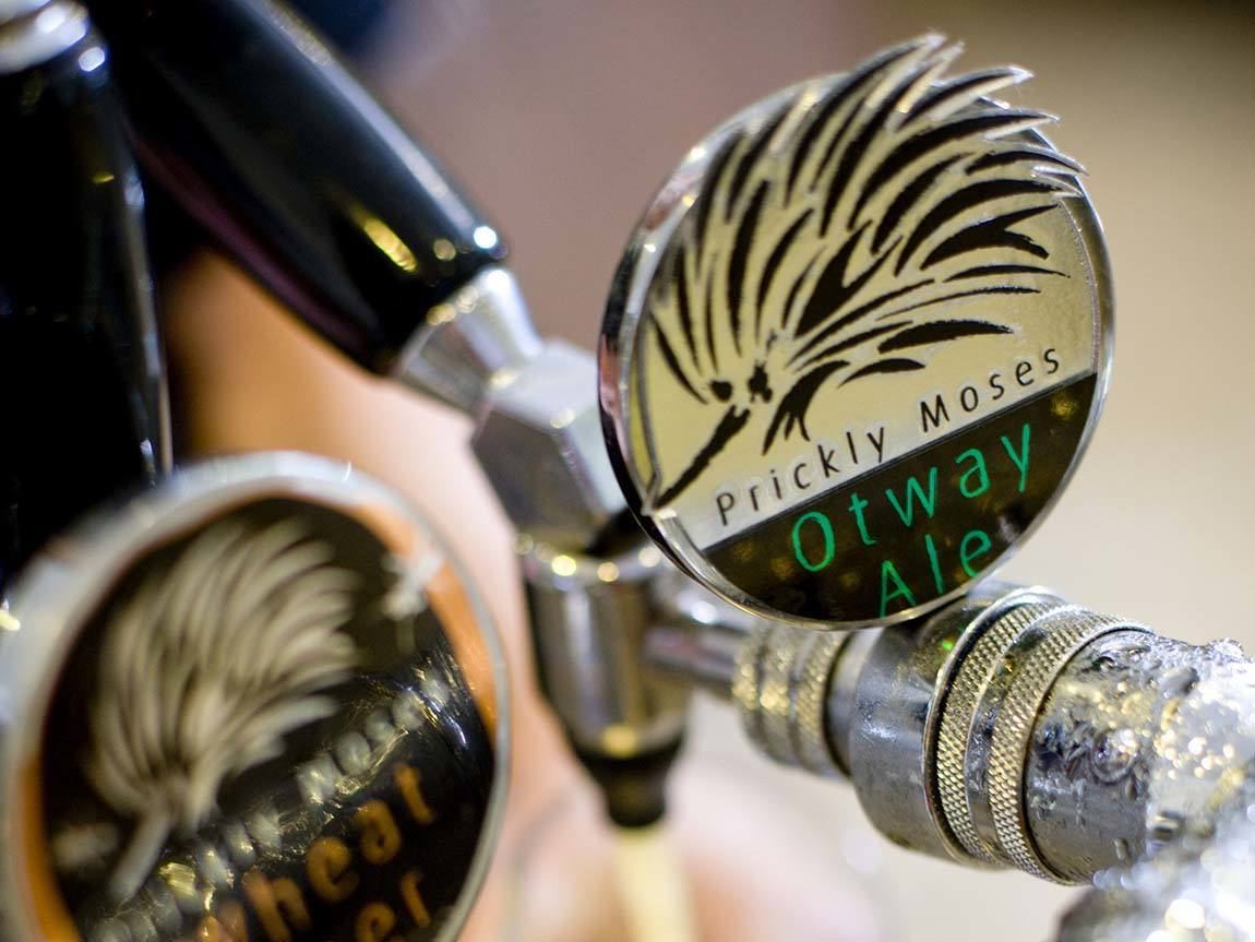 Beer taps at Otway Estate, Barongarook, Great Ocean Road, Victoria, Australia