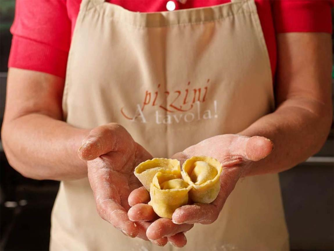 Handmade tortellini at A tavola! Cooking School, High Country, Victoria, Australia