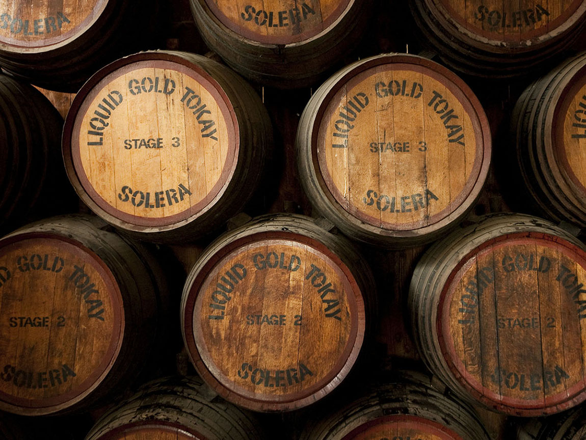 Wine barrels at Campbells Wines, Rutherglen, High Country, Victoria, Australia