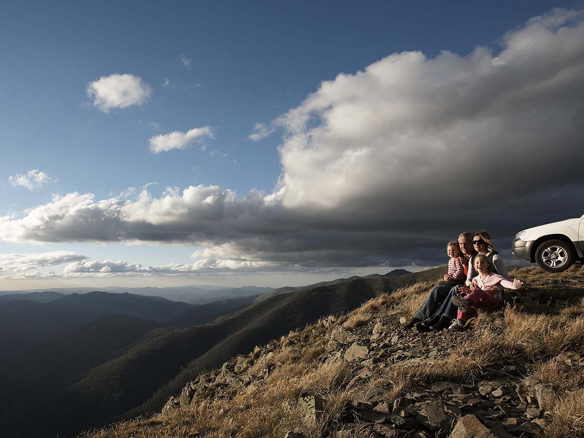 Family on Mount Hotham, High Country, Victoria, Australia