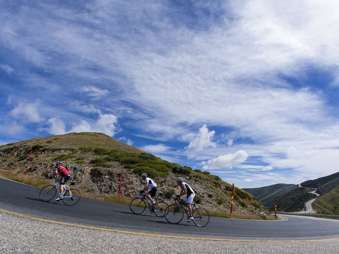 Road cycling at Mount Hotham, High Country, Victoria, Australia
