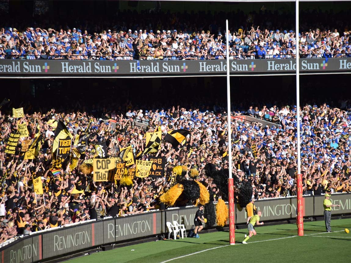 Fans at an AFL final at the MCG, Melbourne, Victoria, Australia