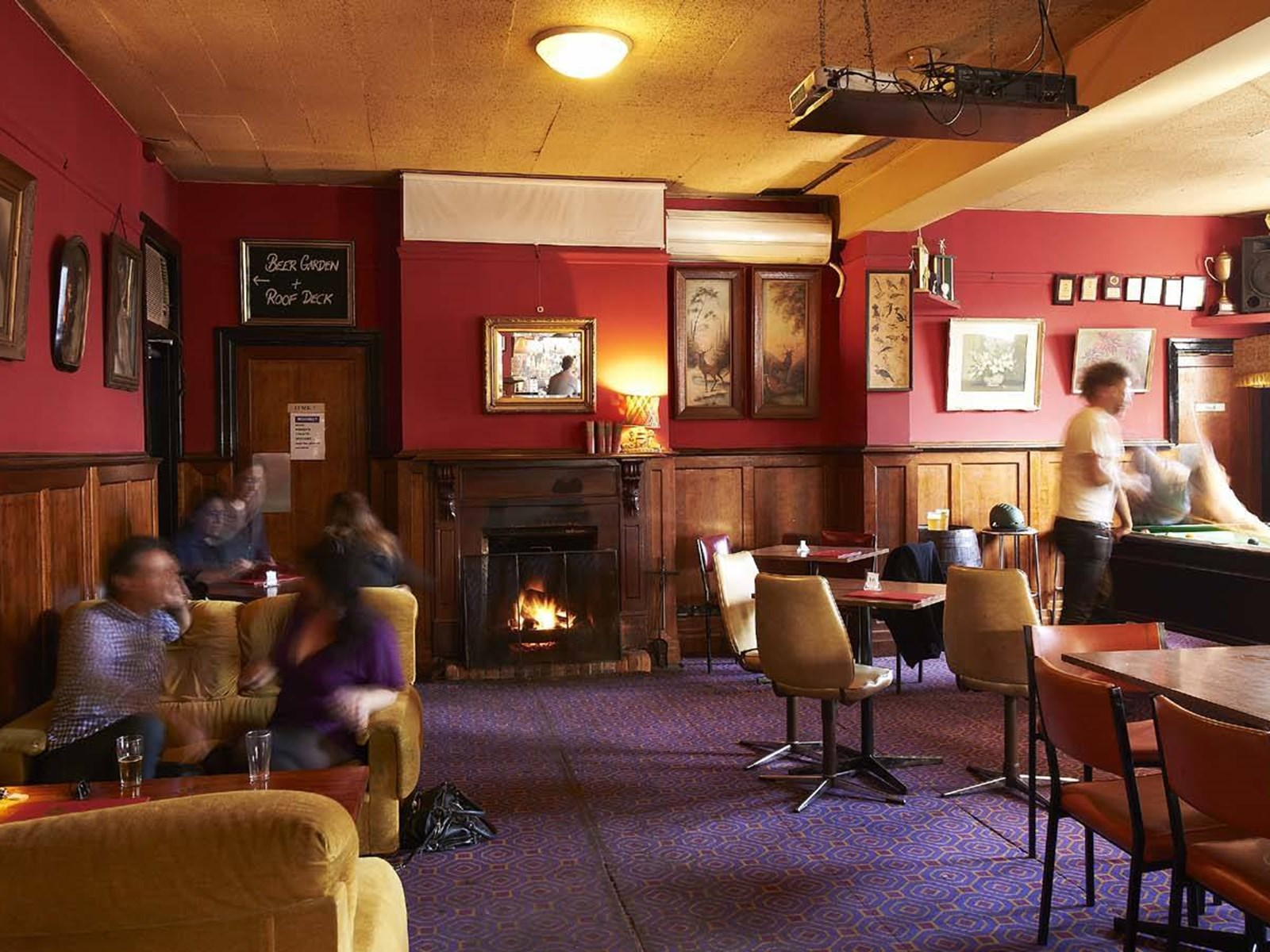 Union Club Hotel lounge with fireplace, Fitzroy, Melbourne, Victoria, Australia