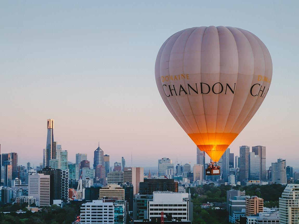 Hot air balloon over Melbourne, Victoria, Australia