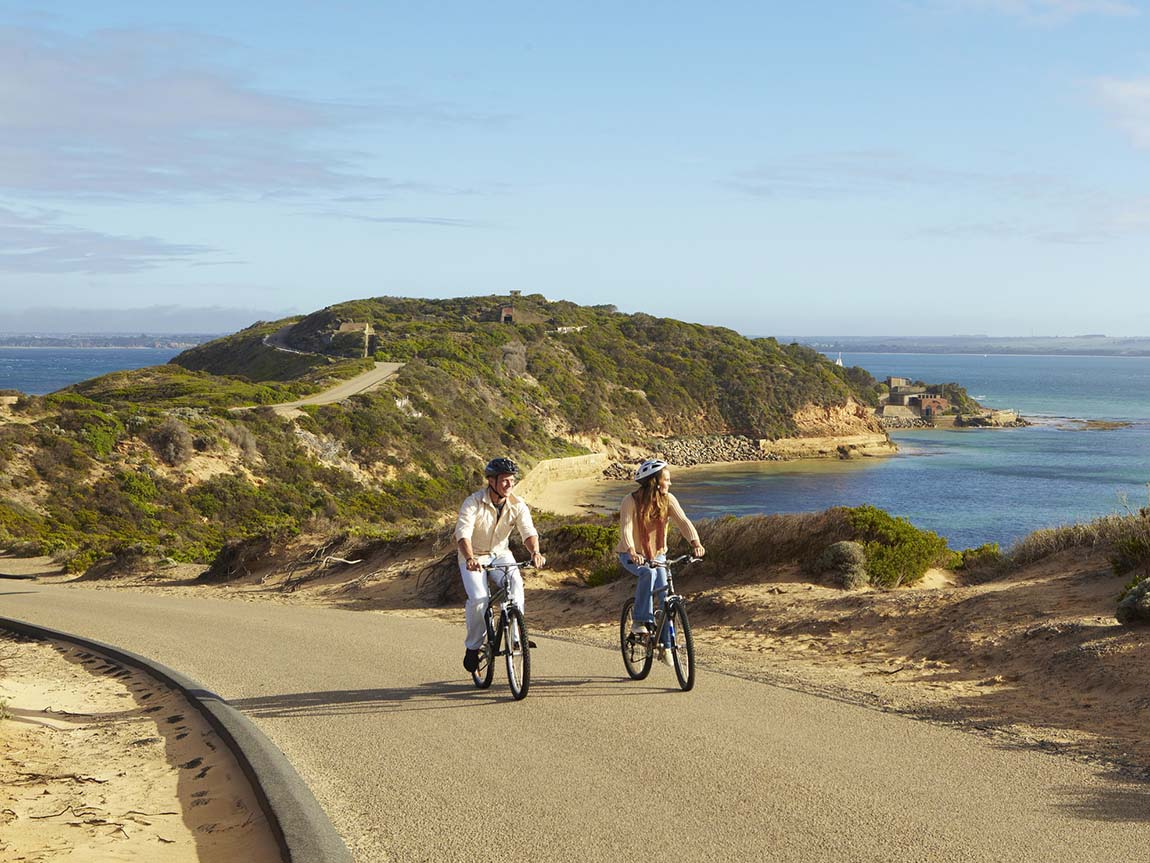 Cycling at Point Nepean, Mornington Peninsula, Victoria, Australia