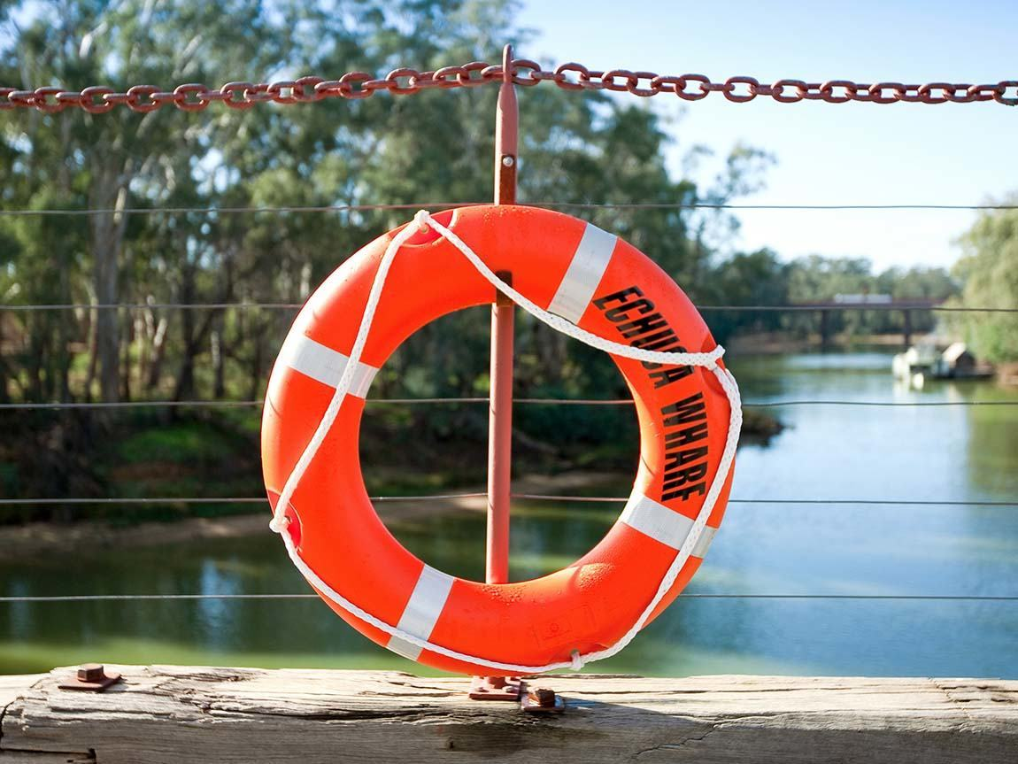 Lifebuoy at Echuca Wharf, The Murray, Victoria, Australia
