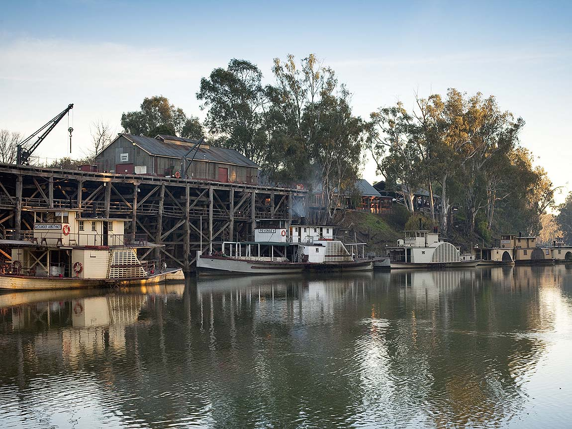 Paddle steamers at Echuca Wharf, The Murray, Victoria, Australia