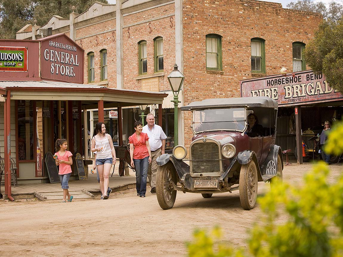 Family at Pioneer Settlement, The Murray, Victoria, Australia