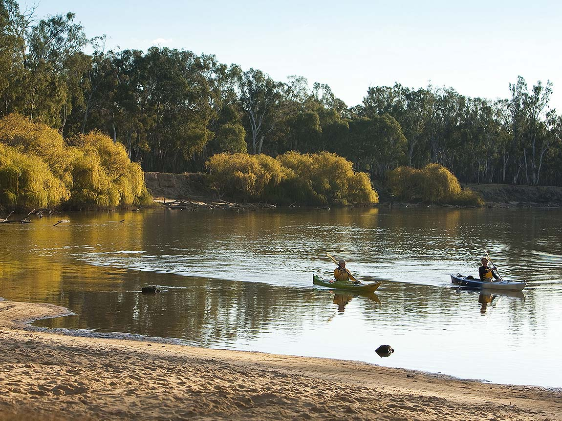 Kayaking on the Murray River near Yarrawonga, The Murray, Victoria, Australia