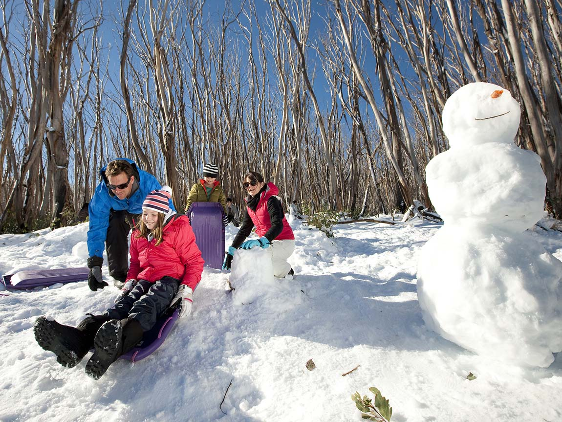 Tobogganing at Lake Mountain, Yarra Valley and Dandenong Ranges, Victoria, Australia